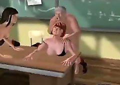 Two sexy 3D cartoon schoolgirl honeys getting fucked