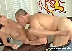 Horny busty sexy boss blowjobs employee