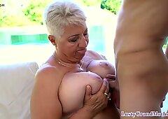 Busty gilf seduces young guy into kinky sex