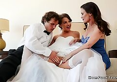Busty stepmom in threesome with couple