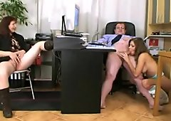 Threesome with mature boss