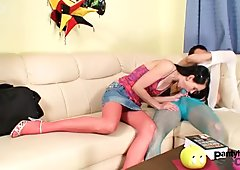 Cute and slutty brunette Simona sucking dick through nylon stockings