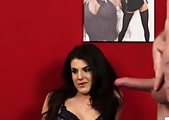 Stockinged british voyeur instructing jerkjob