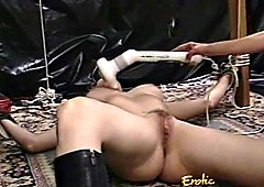 Raunchy blonde slut with big tits gets whipped hard by a dom