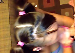 Pigtail Girl Sucking Cock Until Cum In Mouth