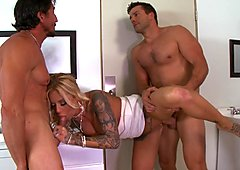 Britney Shannon gets spit roasted by two sexy doormen