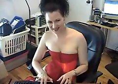 Brunette slut on her lingerie masturbating while smoking