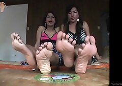 Asian Ladyboys Show Off Their Big Sweaty Feet and Red Toenails - Big Red