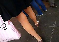 sexy nylon legs mature short skirt ,walking , stairs upskirt