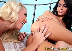 Blonde lesbian teen licks out