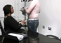 Bust ebony plumper pleases her boss
