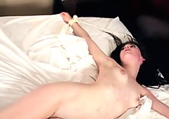Lovely hot Jenna Reid massaging a huge hard cock