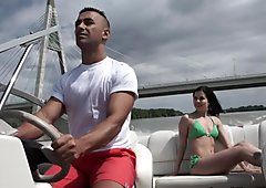Babe anally fucked on the boat