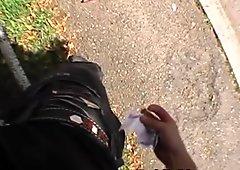 Finger Banging Dirty Brunette Outdoors In Public