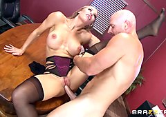 Hot boss Nicole Aniston taking a big dick in the office