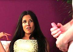 Busty british femdom instructs guy to tug