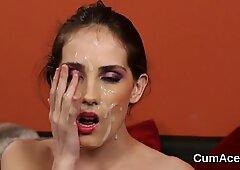 Naughty doll gets cumshot on her face gulping all the spunk  - Doll Face