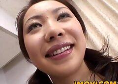 Asian chick sucks massive cock and eats cum