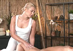 Blonde masseuse fingers hot brunette