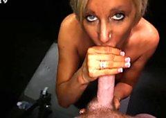 Milf sucking strangers cocks in random gloryhole
