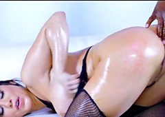 Wet Fishnet Babe gets Black Cock Up Her Ass