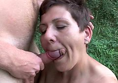 The great outdoors wets grandma's appetite for cock
