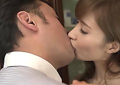 Cute Asian MILF Yuna Hayashi sucks huge cock in a kitchen