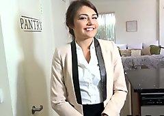 Slutty realtor agent Adira Rae spreads legs for a big dick