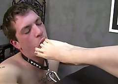 Foot licker kicked in the face