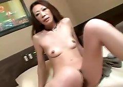 Masturbating japanese milf sucks cock